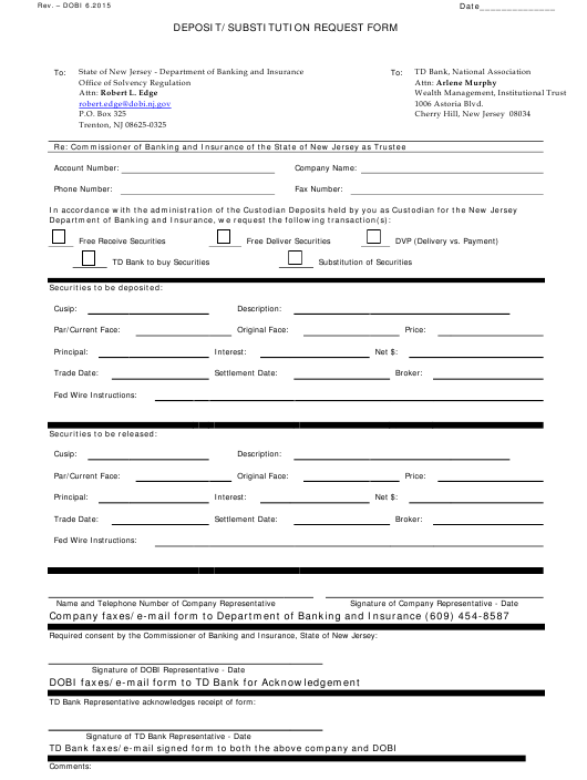 """""""Deposit/Substitution Request Form"""" - New Jersey Download Pdf"""