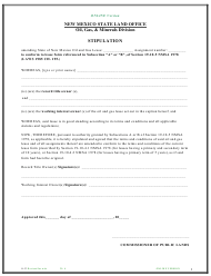 "Form O-32 ""Lease Stipulation Form"" - New Mexico"