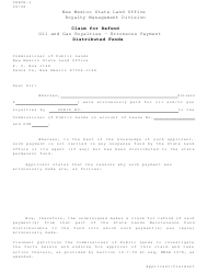 "Form OGRCR-1 ""Claim for Refund Distributed Funds"" - New Mexico"