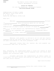 "Form OGRCR-2 ""Claim for Refund Non-distributed Funds"" - New Mexico"