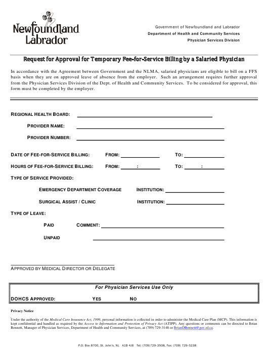 """""""Request for Approval for Temporary Fee-For-Service Billing by a Salaried Physician"""" - Newfoundland and Labrador, Canada Download Pdf"""