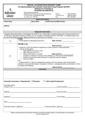 """""""Special Authorization Request Form - Ticagrelor (Brilinta)"""" - Newfoundland and Labrador, Canada"""