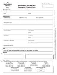 """""""Mobile Fuel Storage Tank Relocation Request Form"""" - Newfoundland and Labrador, Canada"""