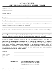 """Application for North Carolina Ginseng Dealer Permit"" - North Carolina"