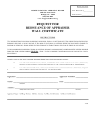 """Request for Reissuance of Appraiser Wall Certificate"" - North Carolina"