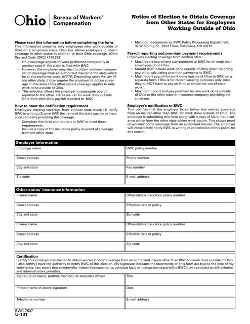 Form U-131 (BWC-7637)  Printable Pdf
