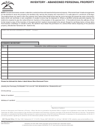 """RTA Form 3 """"Inventory - Abandoned Personal Property"""" - Northwest Territories, Canada"""
