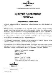 "Form SEP-001 ""Support Enforcement Program Registration Form"" - Newfoundland and Labrador, Canada"