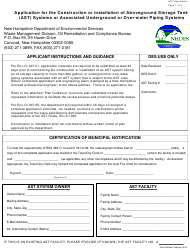 """""""Application for the Construction or Installation of Aboveground Storage Tank (Ast) Systems or Associated Underground or Over-water Piping Systems"""" - New Hampshire"""