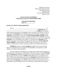 "Form PFR-7 ""Charitable Solicitations Bond Form"" - New Hampshire"