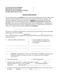 "Form PFR-5 ""Solicitation Notice"" - New Hampshire"