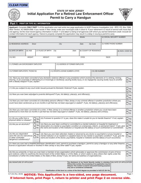 Form S.P.232  Printable Pdf
