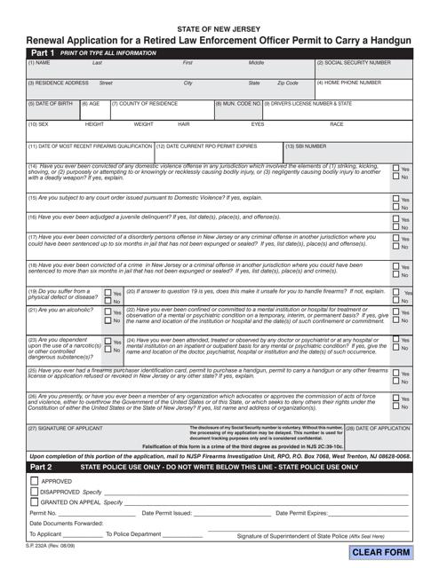 Form S.P.232A  Printable Pdf