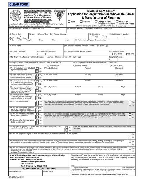 Form S.P.280  Printable Pdf