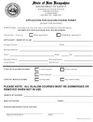 """Form DSSS58 """"Application for Slalom Course Permit"""" - New Hampshire"""