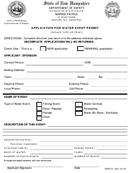 """Form DSSS57 """"Application for Water Event Permit"""" - New Hampshire"""