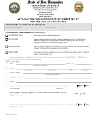 """Form DSSP84 """"Application for Certificate of Competency for the Use of Explosives"""" - New Hampshire"""