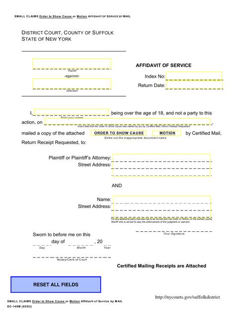 Form DC-149M  Printable Pdf