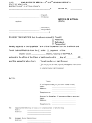 """""""Notice of Appeal - Civil"""" - Suffolk County, New York"""