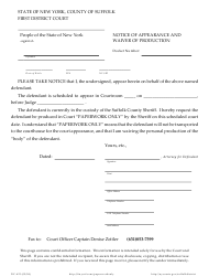 """Form DC-423 """"Notice of Appearance and Waiver of Production"""" - Suffolk County, New York"""