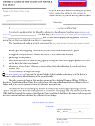 "Form DC-422 ""Ex-parte Motion to Dismiss Handicapped Parking Ticket, Supporting Affidavit, and Consent to Adjudication by a Judicial Hearing Officer (Jho)"" - Suffolk County, New York"