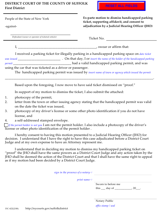 Form DC-422  Printable Pdf