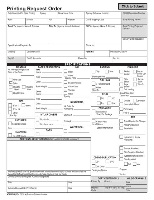 Form ADM0515 Printable Pdf