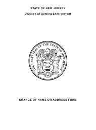 """Form 6 """"Change of Name or Address Form"""" - New Jersey"""