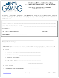"Form GC-7R ""Financial Statement of Raffle Operations"" - New York"