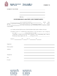 "Form VI ""Extended Declaration and Undertaking"" - Canada"