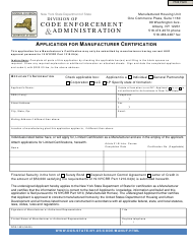 "Form DOS-1803 ""Application for Manufacturer Certification"" - New York"