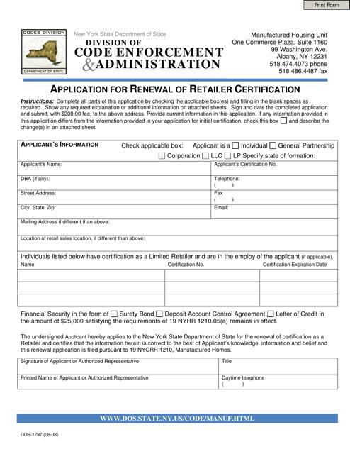 Form DOS-1797  Printable Pdf