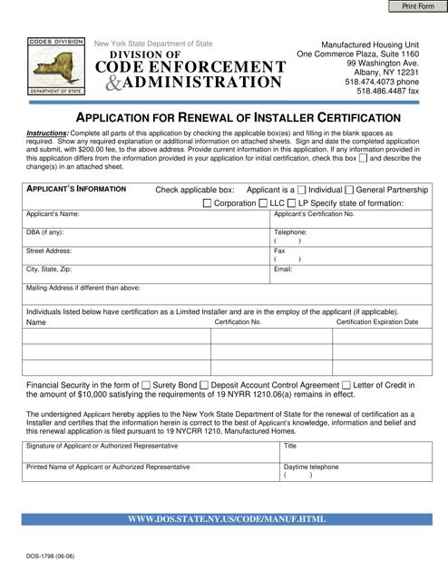 Form DOS-1798  Printable Pdf