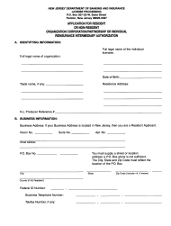 "Form C ""Application for Resident or Nonresident Organization, Corporation/Partnership or Individual Reinsurance Intermediary Authorization"" - New Jersey"