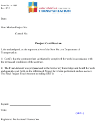 "Form A-1081 ""Project Certification"" - New Mexico"