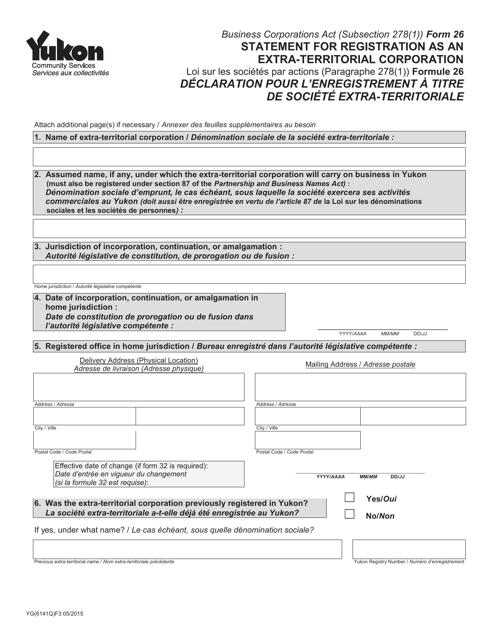 Form 26 (YG6141) Printable Pdf