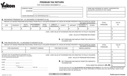 """Form YG336 """"Premium Tax Return"""" - Yukon, Canada"""