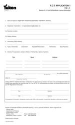 """Form YG614 """"Fuel Oil Tax - Application 1"""" - Yukon, Canada"""