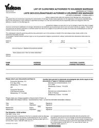 "Form A (YG5055) ""List of Clergymen Authorized to Solemnize Marriage"" - Yukon, Canada (English/French)"
