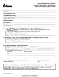 """Form YG5631 """"Ods/Oh Permit Application"""" - Yukon, Canada"""