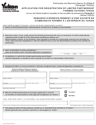 "Form 3 (YG6191) ""Application for Registration of Limited Partnership Formed Outside Yukon"" - Yukon, Canada (English/French)"