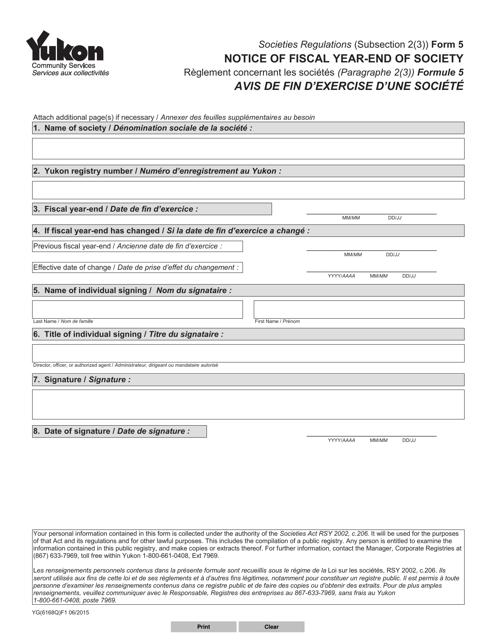 Form 5 (YG6168) Printable Pdf