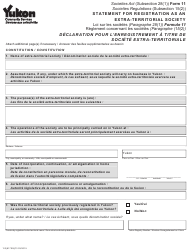 """Form 11 (YG6170) """"Statement for Registration as an Extra-territorial Society"""" - Yukon, Canada (English/French)"""