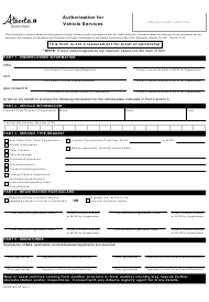 """Form REG0169 """"Authorization for Vehicle Services"""" - Alberta, Canada"""