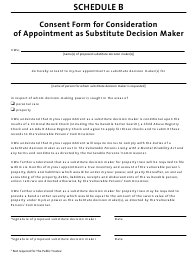"""Schedule B """"Consent Form for Consideration of Appointment as Substitute Decision Maker"""" - Manitoba, Canada"""