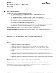 "Form 16 ""Division of Pension Benefits Notice"" - Nova Scotia, Canada"