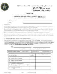 """OBLADC Form 215 """"Ladc/Mh Practicum/Training Form (100 Hours)"""" - Oklahoma"""