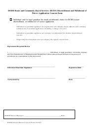 """""""Dodd Home and Community-Based Services (Hcbs) Disenrollment and Withdrawal of Waiver Application Consent Form"""" - Ohio"""