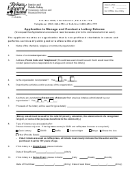 """Application to Manage and Conduct a Lottery Scheme"" - Prince Edward Island, Canada"