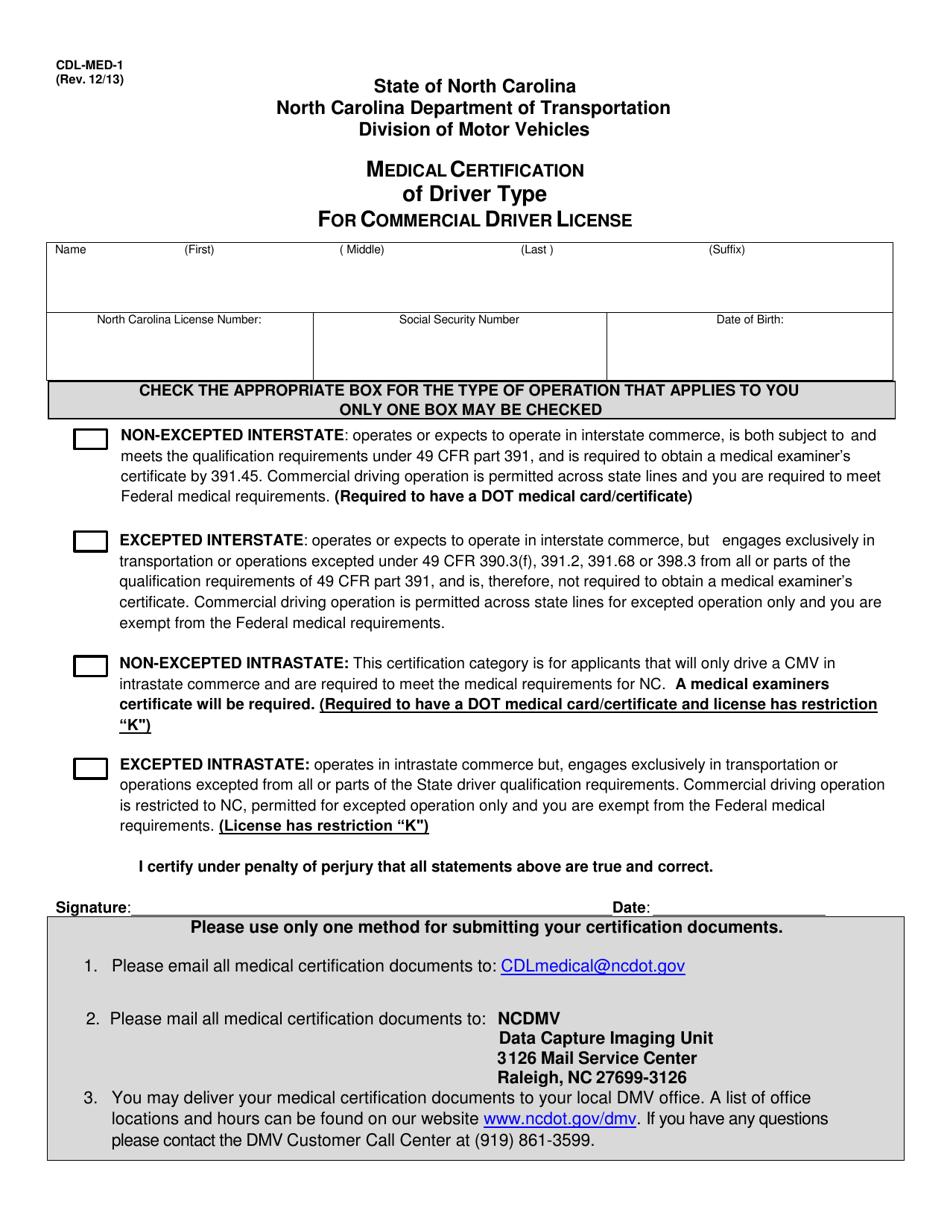 cdl driver carolina north license commercial medical certification form template templateroller med printable